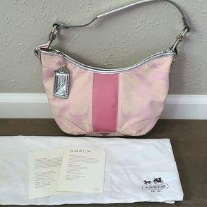COACH Signature Pink Shoulder Bag with Dust Bag